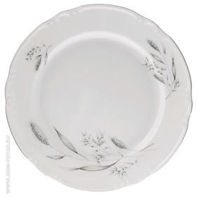 """Тарелка мелкая 21 см, Constance, декор """"Серебряные колосья, отводка платина"""""""