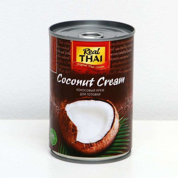 Кокосовый крем REAL THAI 95% мякоти, растительные жиры 20-22%, ж/б 400 мл