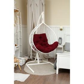 Подвесное кресло «Бароло», капля, цвет белый, подушка бордо