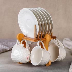 """Набор чайный """"Diamond 12 предметов на подставке: 6 кружек 170 мл, 6 блюдец 13 см"""