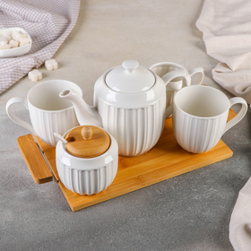 "Набор чайный ""Воздушный зефир"": чайник 1л, кружка 320 мл, сливочник 290 мл, сахарница 350 мл"
