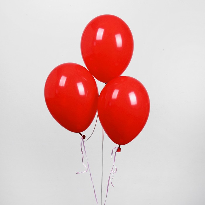 Шар латексный 12, пастель, набор 5 шт., цвет красный