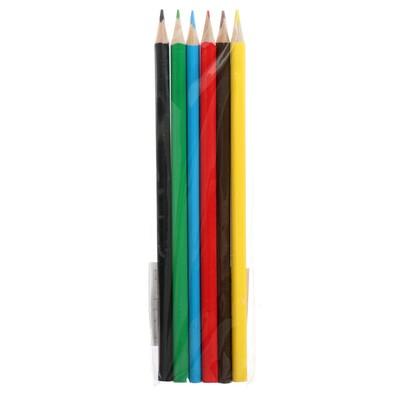 Карандаши 6 цветов ОРР без лого, корпус дерево, треугольные
