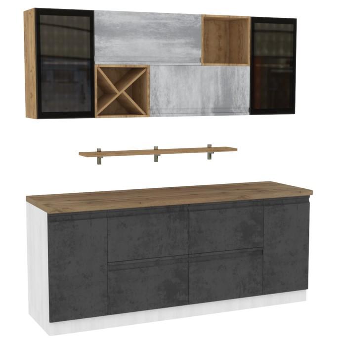 Кухонный гарнитур Бронкс стекло 2000 бетон/доломит