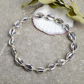 Колье 'Море' ракушка на шнурке, цвет серебро , длина 45см Ош