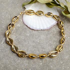 Колье 'Море' ракушка на шнурке, цвет золото , длина 45см Ош