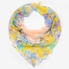 Платок женский текстильный, цвет бежевый/цветы, размер 60x60
