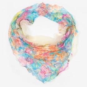 Платок женский текстильный, цвет молочный/цветы, размер 60x60