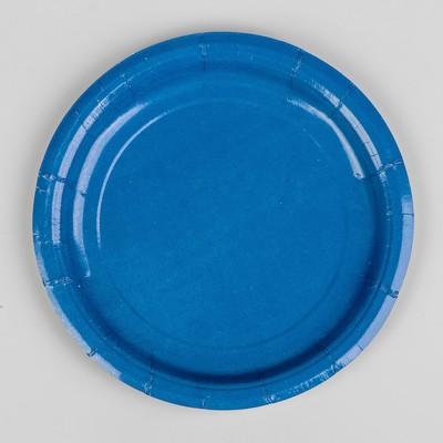 Тарелка бумажная, однотонная, цвет синий