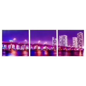 Модульная картина 'Ночной мост мегаполиса' (3-35х35) 35х105 см Ош