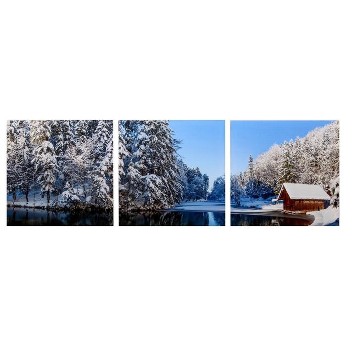 Модульная картина Избушка в зимнем лесу 3-35х35 35х105 см