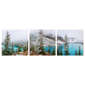 Модульная картина 'Горное озеро' (3-35х35) 35х105 см Ош