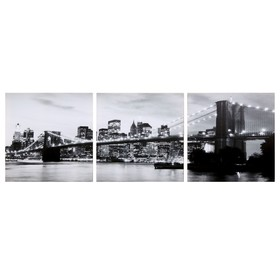 Модульная картина 'Вечерний мост' ч/б (3-35х35) 35х105 см Ош