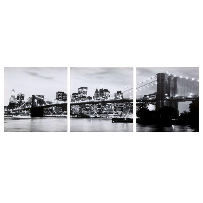 Модульная картина Вечерний мост чб 3-35х35 35х105 см