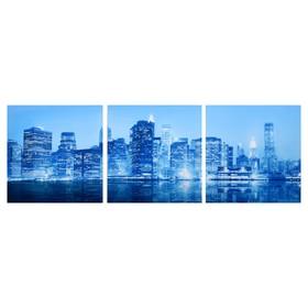 Модульная картина 'Город в неоне' (3-35х35) 35х105 см Ош
