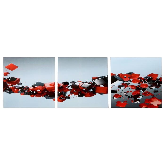 Модульная картина Иллюзия объёма 3-35х35 35х105 см