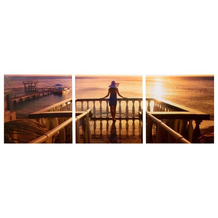 Модульная картина Морской закат 3-35х35 35х105 см