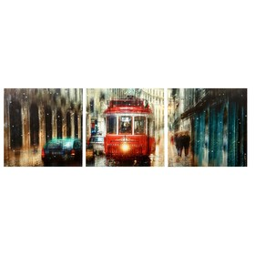 Модульная картина 'Дождливый трамвай' (3-35х35) 35х105 см Ош