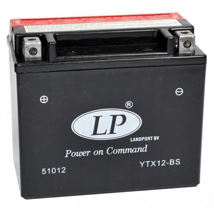 Аккумулятор Landport YTX12-BS, 12В, 10 Ач, прямая (+ -)