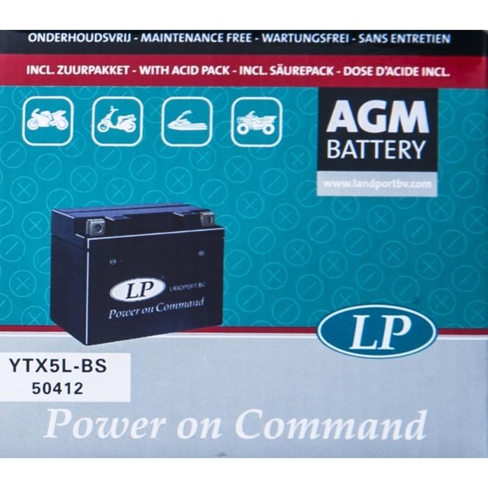 Аккумулятор Landport YTX5L-BS, 12В, 4 Ач, обратная (- +)