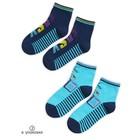 Носки для мальчиков, размер 16-18, цвет синий, голубой, 2 пары в упаковке