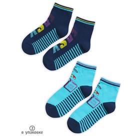 Носки для мальчиков, размер 14-16 см, цвет синий, голубой, 2 пары