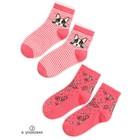 Носки для девочек, размер 16-18, цвет красный, 2 пары в наборе