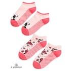 Носки для девочек, размер 12-14, цвет красный, 2 пары в наборе