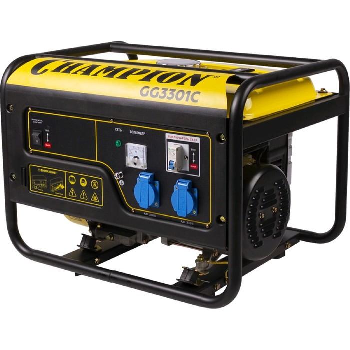 Генератор CHAMPION GG3301C, 4Т, 6 л.с., 3.1 кВт, 220 В, 15 л, высокий пусковой ток 7 кВт