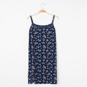 Сорочка женская, цвет тёмно-синий/цветы, размер 42
