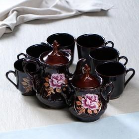 """Чайный сервиз """"Александра"""", деколь роза, 8 предметов в наборе: чайник 0.8 л, сахарница 0.6 л, кружки 0.35 л"""
