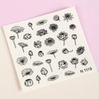 Слайдер-дизайн для ногтей «Цветочная фантазия», цвет чёрный