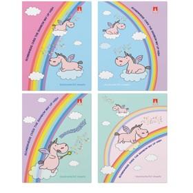 Блокнот А7, 40 листов на скрепке «Волшебные единороги», обложка картонная, блок 55 г/м2, микс из 4-х видов