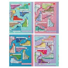 Блокнот А7, 40 листов на скрепке «Кеды. Праздник», обложка картонная, блок 55 г/м2, микс из 4-х видов