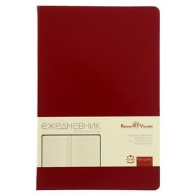 Ежедневник недатированный А5, 160 листов, City, твёрдая обложка, кожаный блок, 70 г/м2, бордовый Ош