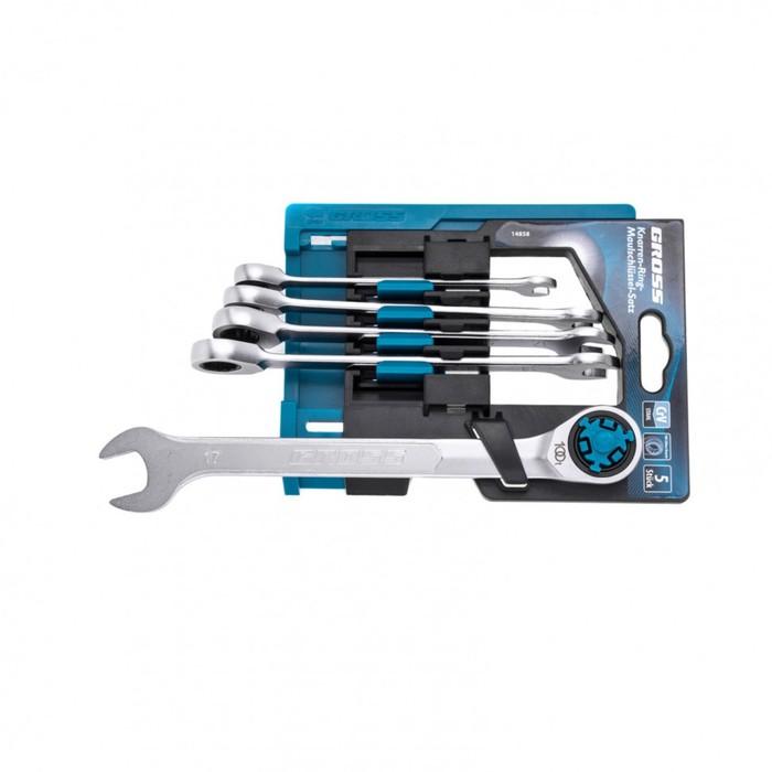Набор ключей комбинированных GROSS 14858, трещоточных, CrV, 8-17 мм, 5 шт.