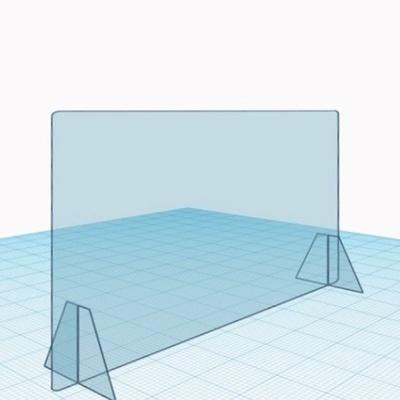 Защитный экран прикассовой зоны 100*20*50 см, поликарбонат 3мм, горизонтальный, опора 20*15 см, прозрачный