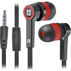 Наушники Defender Pulse 420, вакуумные, микрофон, 105дБ, 32 Ом, 3.5 мм, 1.2 м, чёрно-красные