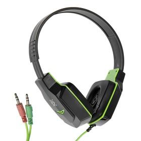 Наушники Defender Warhead G-320, игровые, полноразмерные,микрофон, 3.5мм,1.8 м,чёрно-зеленые Ош