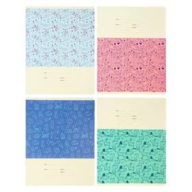 Тетрадь 12 листов в крупную клетку Kids pattern, МИКС