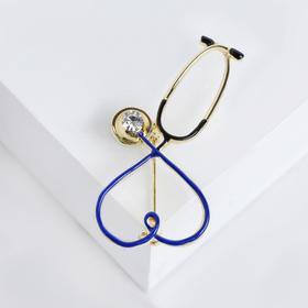 Брошь 'Стетоскоп' сердце, цвет синий в золоте Ош