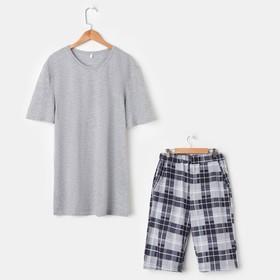 Костюм мужской «Влад» (футболка, шорты), цвет серый/клетка, размер 48
