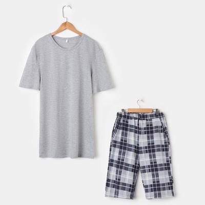 Костюм мужской «Влад» (футболка, шорты), цвет серый/клетка, размер 48 - Фото 1