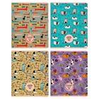 Тетрадь 96 листов в клетку, на скрепке Pets pattern, обложка мелованный картон, 4 вида, МИКС
