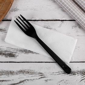 Набор приборов «Премиум», 2 в 1, вилка чёрная и салфетка белая Ош