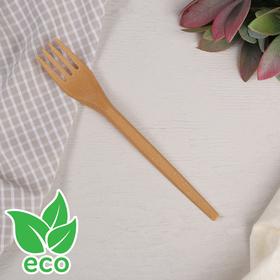 Вилка 16,8 см, древесное волокно, 6 шт/уп, цвет от золотисто-охристого до коричневого Ош