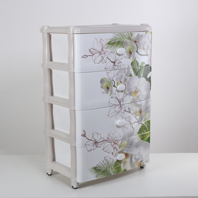 Комод 4 секции «Орхидея», цвет белый