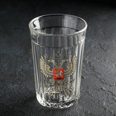 Стакан гранёный АС-ДЕКОР «Герб России», 250 мл