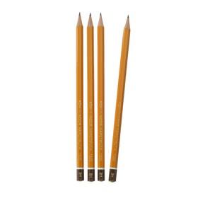Набор профессиональных чернографитных карандашей 4 штуки Koh-I-Noor 1500 H2, заточенные (749480)