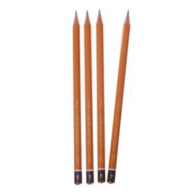 Набор профессиональных чернографитных карандашей 4 штуки Koh-I-Noor 1500 H4, заточенные (2334229)